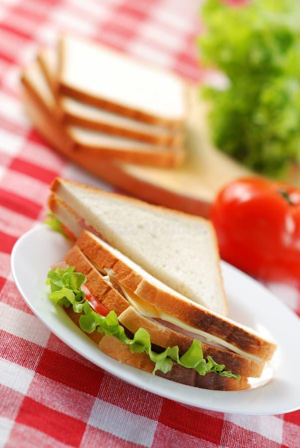 Sandwich met ingrediënten stock afbeeldingen