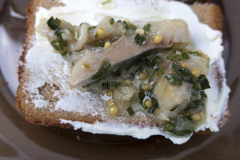 Sandwich met kwark en haringen royalty-vrije stock afbeelding