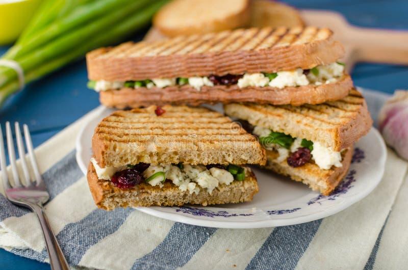 Sandwich met schimmelkaas en Amerikaanse veenbessen stock fotografie
