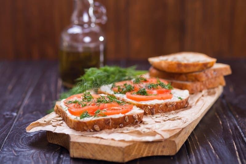 Sandwich met tomaten royalty-vrije stock afbeelding