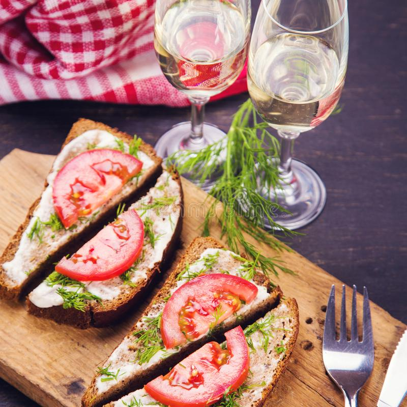 Sandwich met tomaten royalty-vrije stock fotografie