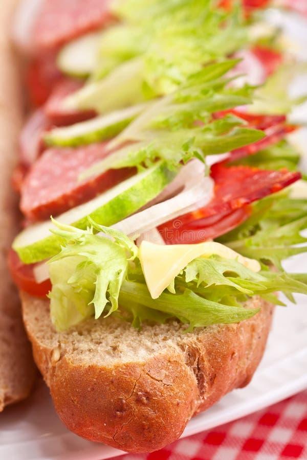 Download Sandwich Met Vlees, Groenten En Kaas Stock Afbeelding - Afbeelding bestaande uit lading, koude: 10781687