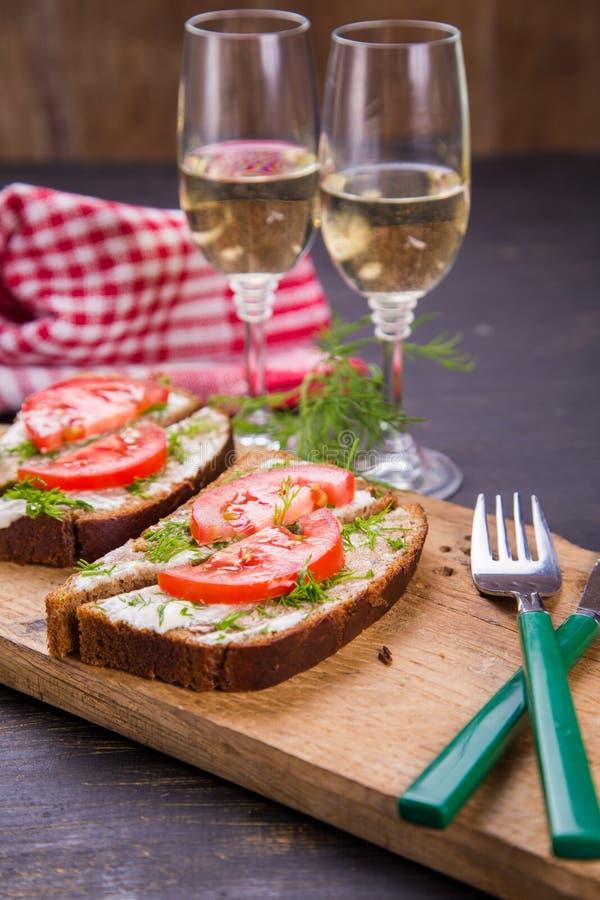 Sandwich met wijnstok royalty-vrije stock foto