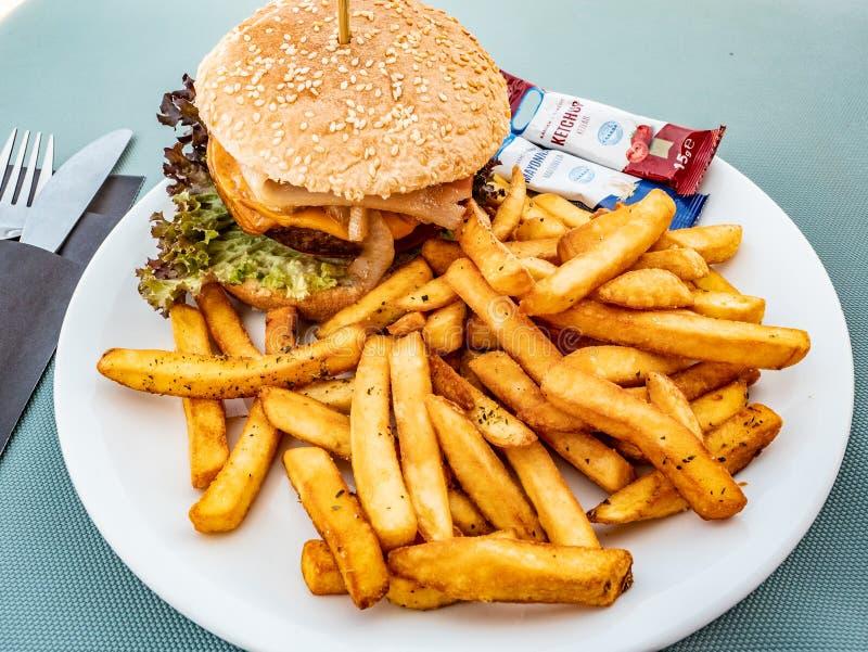 Sandwich met zeer gekruide vleeshamburger in een plaat met frieten stock foto