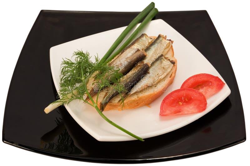 Sandwich mit Fischen stockfotografie