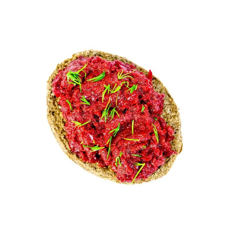 Sandwich mit Kaviar und Dill der roten Rübe auf die Oberseite lizenzfreie stockbilder