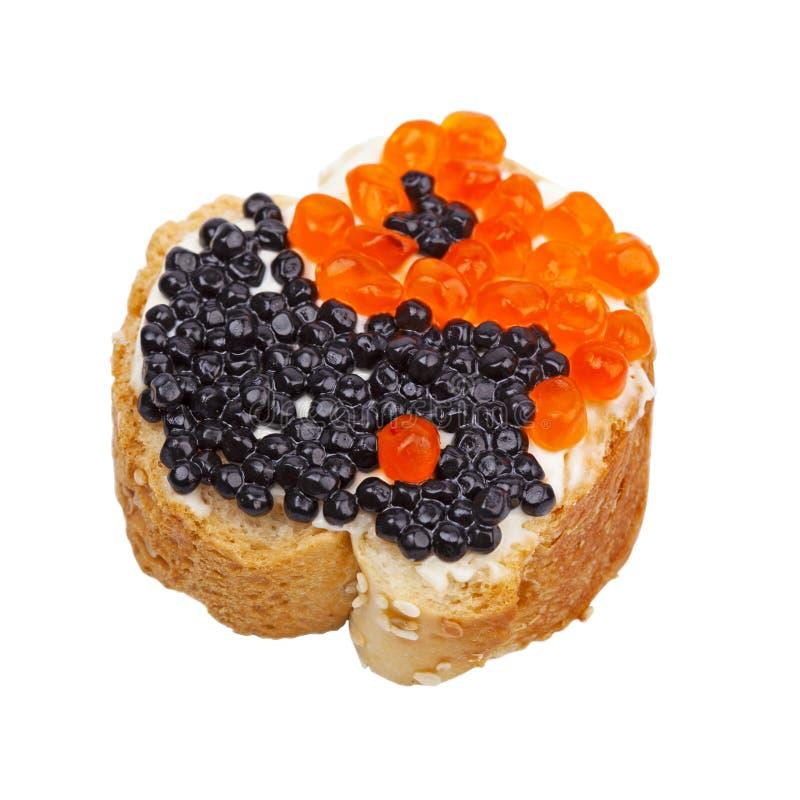 Sandwich mit rotem und schwarzem Kaviar lizenzfreies stockbild