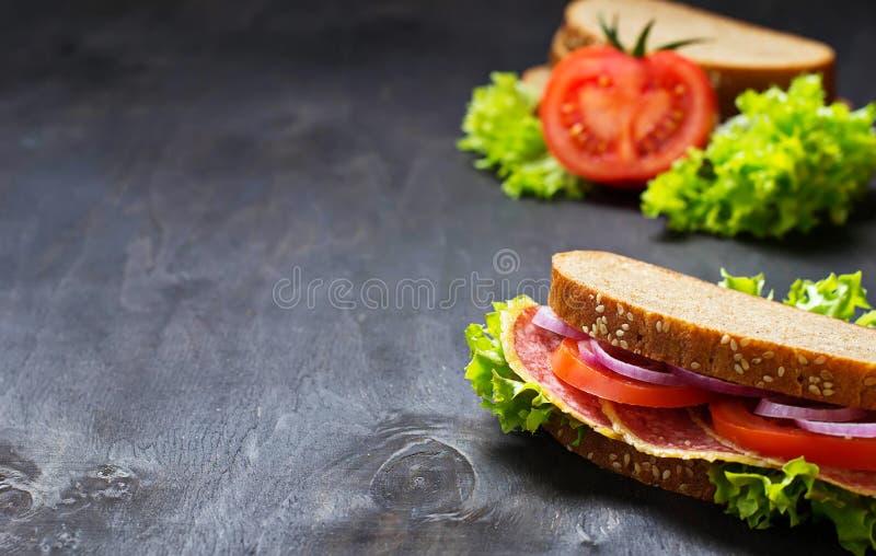 Sandwich mit Tomate, Salami, Salat, Zwiebel auf dunklem Hintergrund lizenzfreies stockfoto