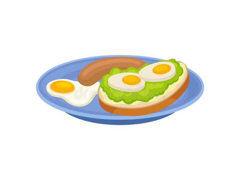 Sandwich, oeuf au plat et saucisse savoureux de plat bleu Repas appétissant pour le thème de nourriture de petit déjeuner Icône p illustration libre de droits
