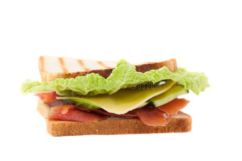 Sandwich op een witte achtergrond royalty-vrije stock afbeeldingen