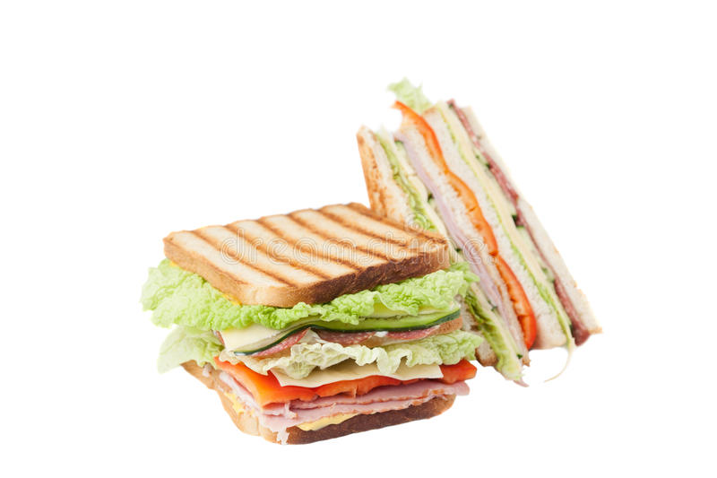 Sandwich op een witte achtergrond stock fotografie