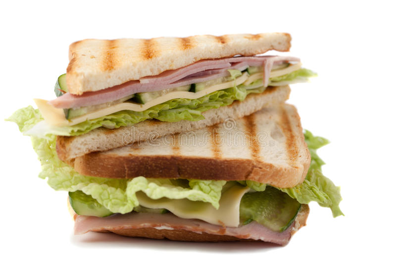 Sandwich op een witte achtergrond royalty-vrije stock fotografie