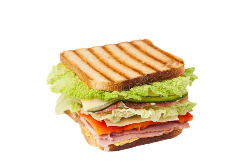 Sandwich op een witte achtergrond stock afbeelding