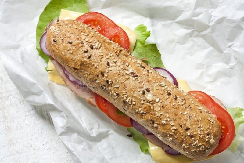 Sandwich op Witboek stock foto's