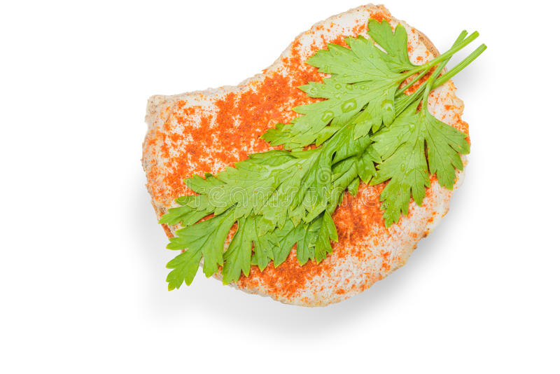 Sandwich out of a piece of meat- white background stock photo