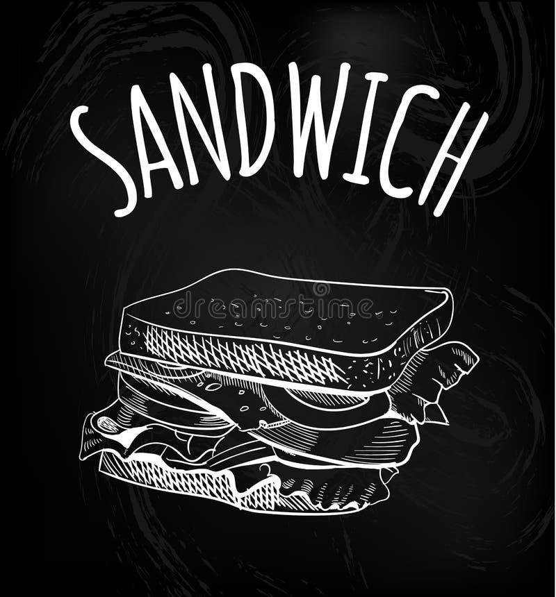 Sandwich outline drawing on chalkboard background. VECTOR sketch. Chalk drawings. vector illustration