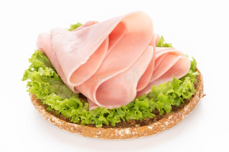 Sandwich with pork ham on white background.  royalty free stock photography