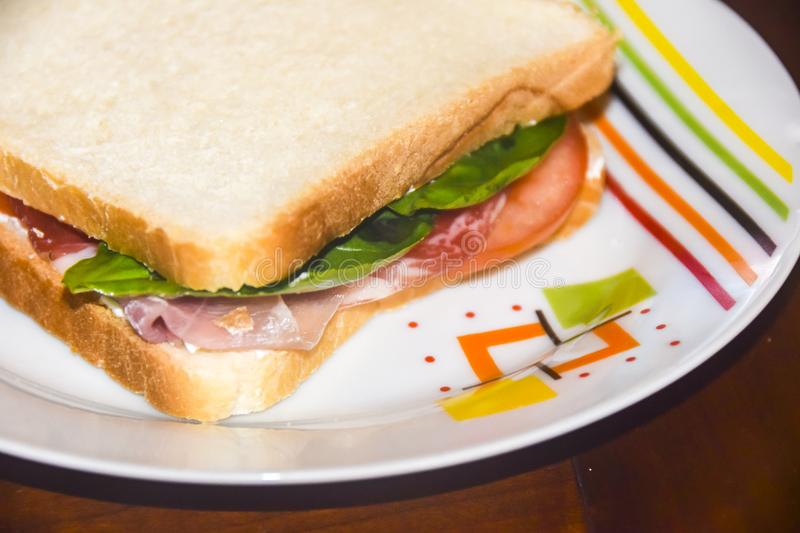Sandwich with prosciutto tomato and green salad on bright plate royalty free stock images