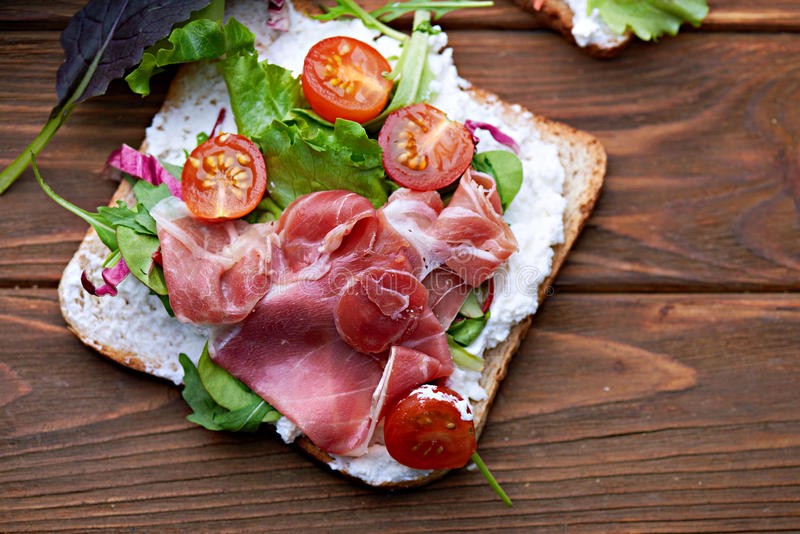 Sandwich with prosciutto royalty free stock photography