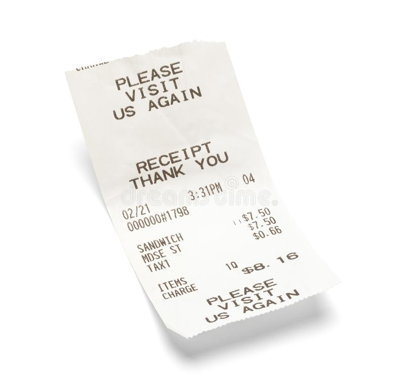 Sandwich Receipt. Fast Food Sandwich Receipt Isolated on White royalty free stock images