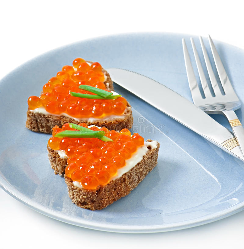 Download Sandwich with red caviar stock image. Image of holiday - 36517599