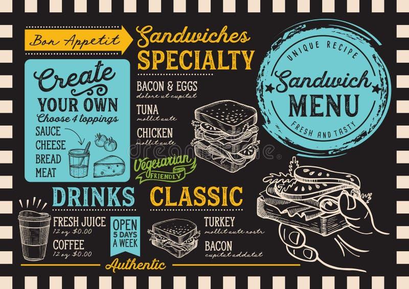 Sandwich menu restaurant, food template. Sandwich restaurant menu. Vector food flyer for bar and cafe. Design template with vintage hand-drawn illustrations stock illustration
