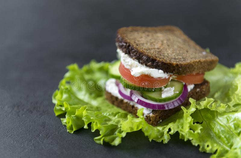 Sandwich with rye bread, soft cheese, tomato slices, onion, cucumber on a leaf of green salad on a black background royalty free stock photo