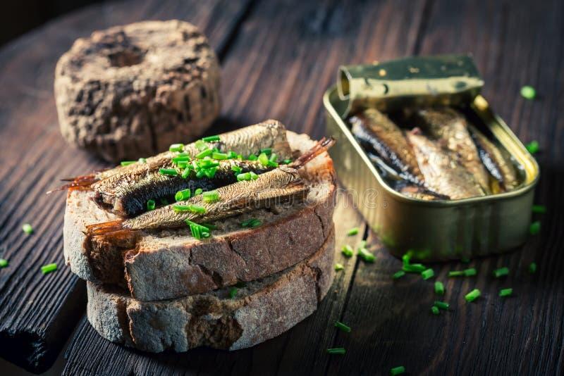 Sandwich sain avec les sardines, la ciboulette et le pain entier image stock