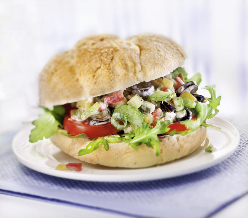 Sandwich With Salad Served Royalty Free Stock Photos