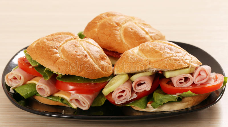 Download Sandwich with salami stock photo. Image of fresh, lettuce - 37700262