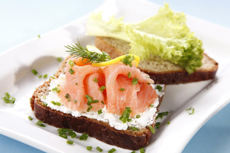 Download Sandwich with salmon stock image. Image of cheese, plant - 18711161