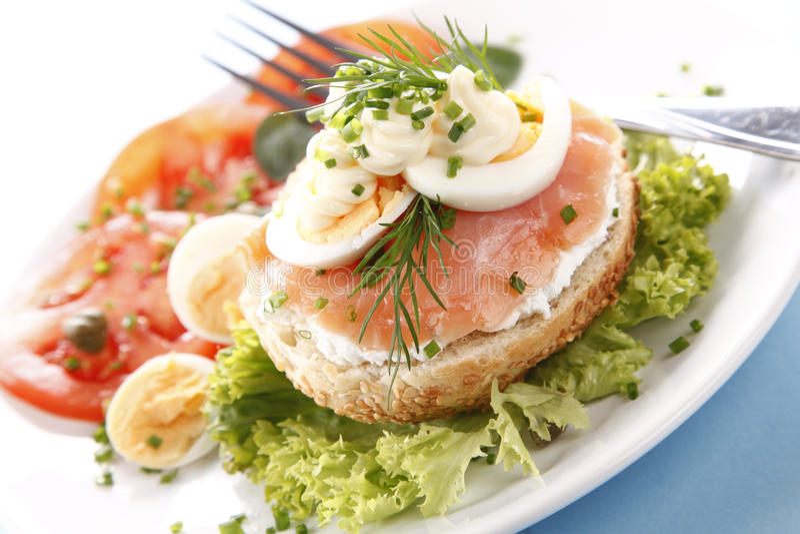 Sandwich with salmon stock photos