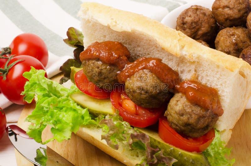Sandwich savoureux à boulettes de viande photographie stock
