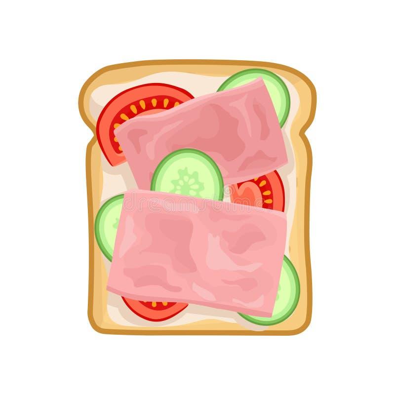 Sandwich savoureux avec des tranches de concombre, de tomate et de jambon frais Casse-croûte appétissant pour le déjeuner Icône p illustration stock