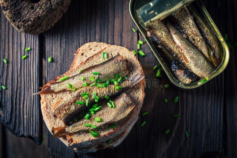 Sandwich savoureux avec les sardines, la ciboulette et le pain entier image libre de droits
