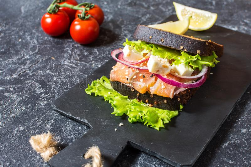 Sandwich with smoked salmon, tomato, onions and salad on stone background stock image