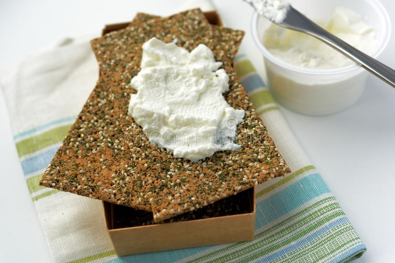 Sandwich with soft cheese stock photo