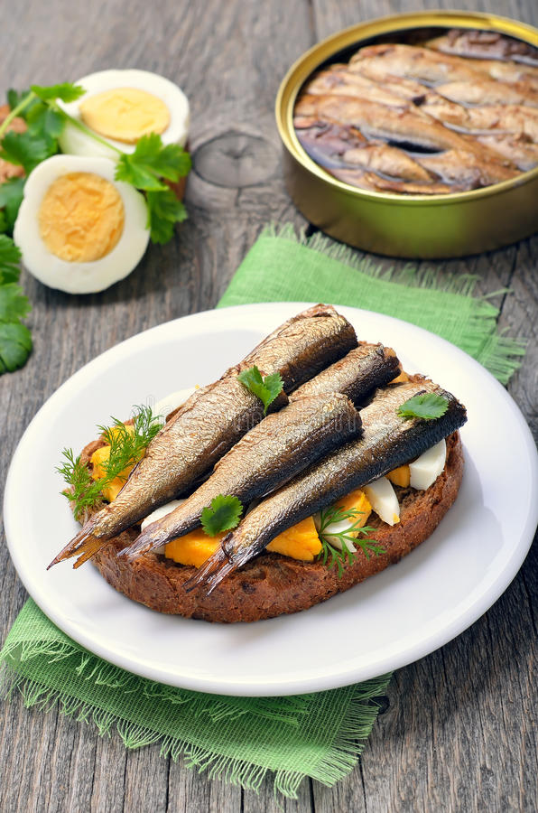 Sandwich with sprats and egg stock photos