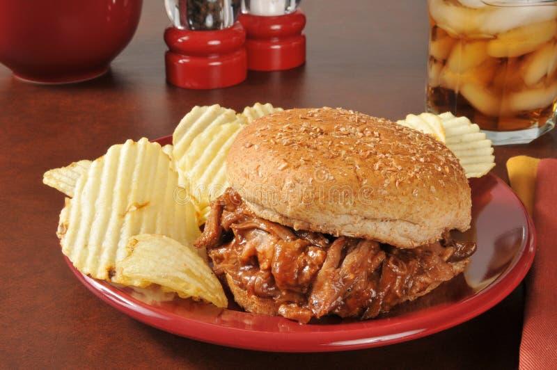 Sandwich tiré à porc photographie stock