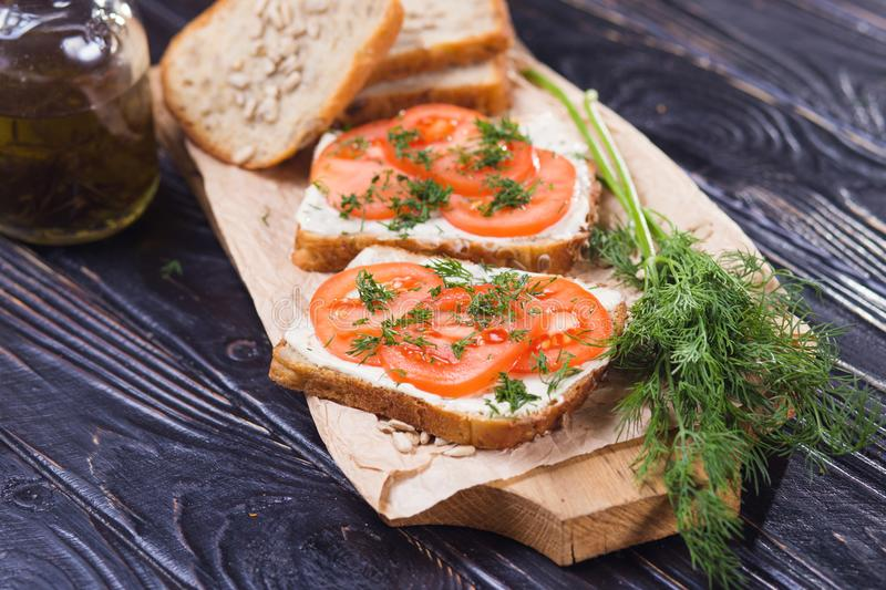 Sandwich with tomatoes stock images