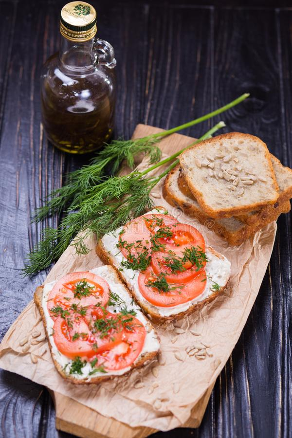 Sandwich with tomatoes stock photos