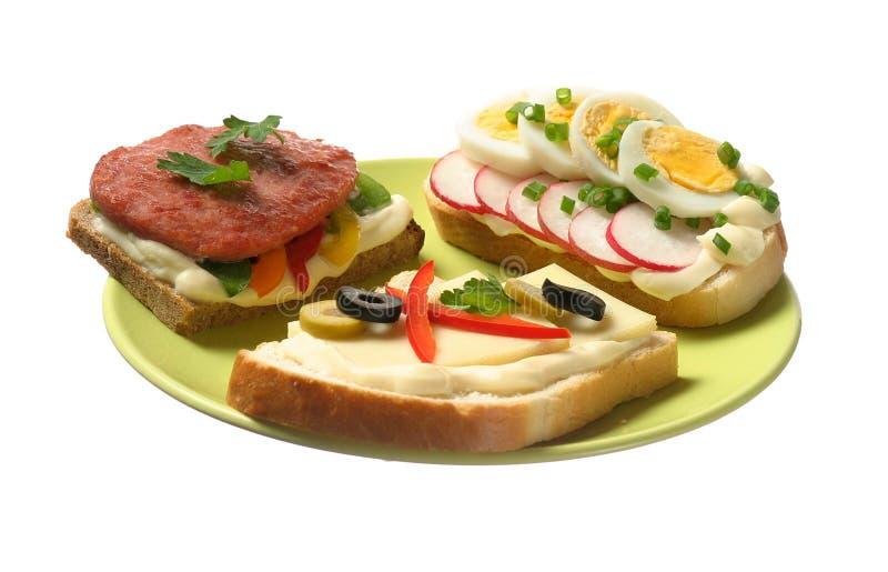Sandwich trois photos stock