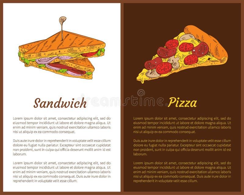 Sandwich-und Pizza-Schnellimbiss-bunte Fahnen stock abbildung