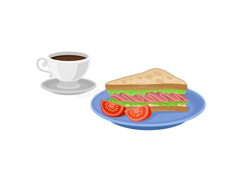 Sandwich und zwei Scheiben Tomate auf blauer Platte, Schale frischer Kaffee auf Untertasse Flaches Vektordesign des köstlichen Fr stock abbildung