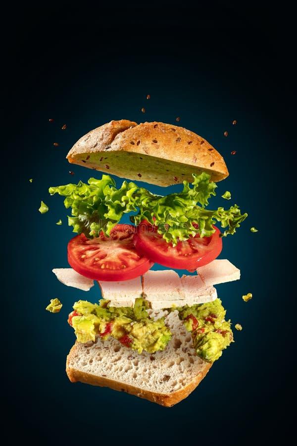 Sandwich végétarien éclaté avec guacamole et tofu en bleu photographie stock libre de droits