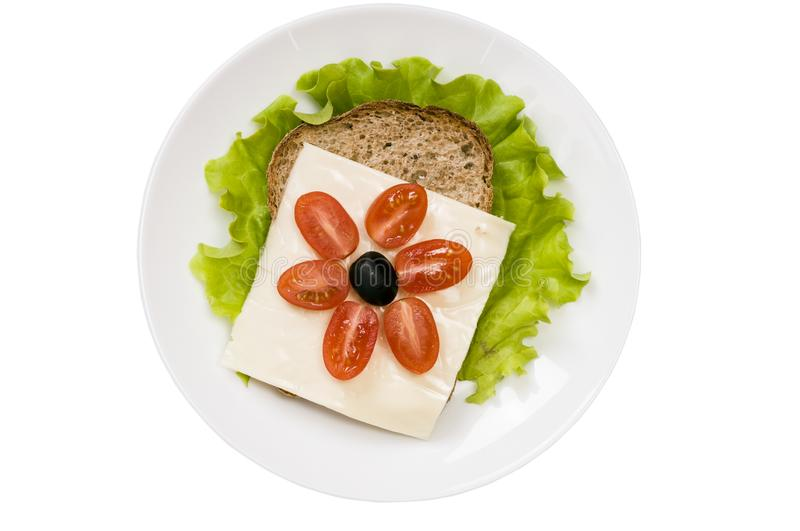 Sandwich with vegetables and cheese isolated on white background stock images