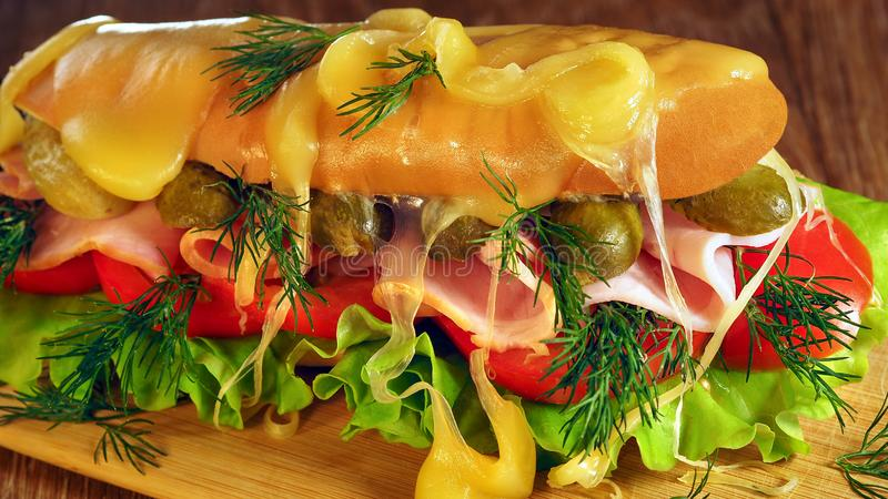 Sandwich with vegetables, sliced ham and herbs. Melted cheese Burger. Inside the sandwich are delicious foods royalty free stock images