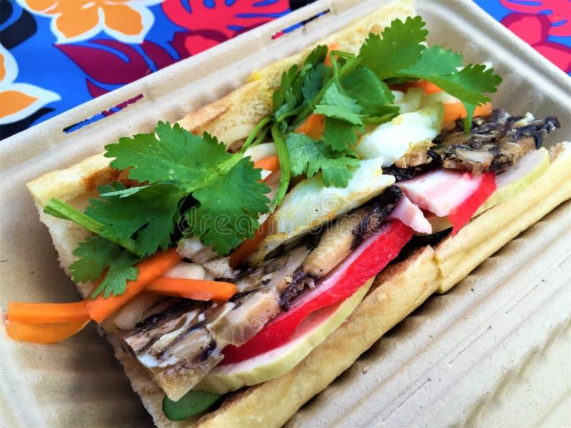 Sandwich vietnamien à Banh MI de porc photos stock