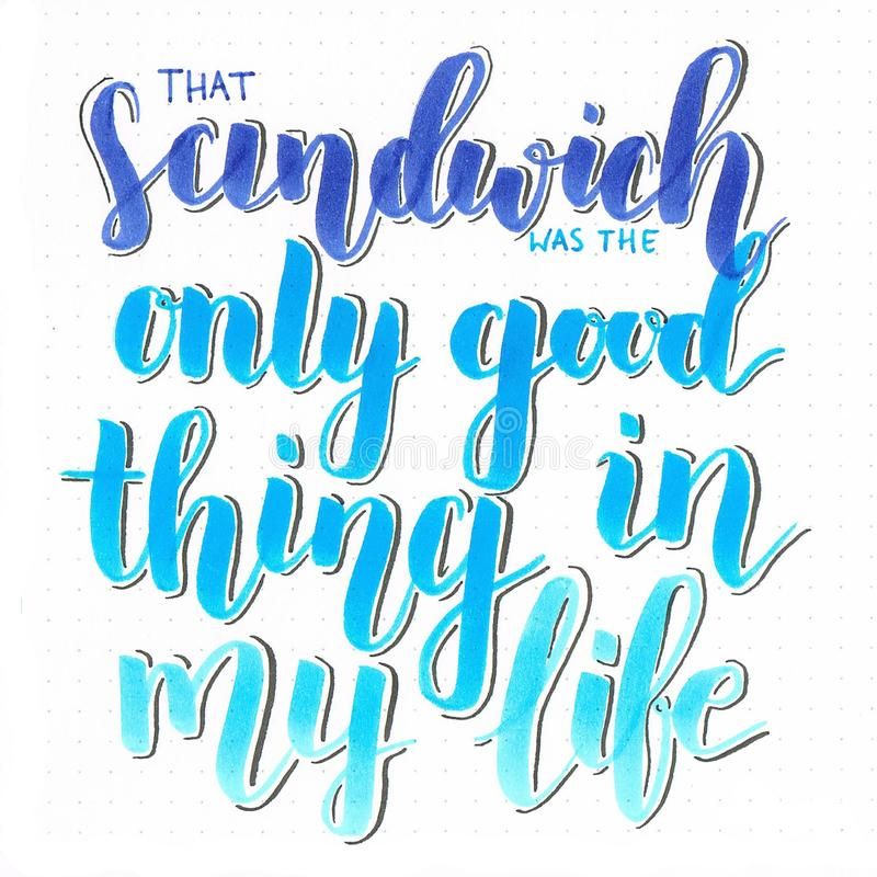 `That sandwich was the only good thing in my life` hand lettering inscription in different shades of blue. Written with brush pen vector illustration