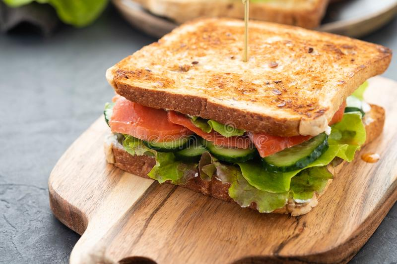 Sandwich with white bread toasts, red fish salmon, fresh green leaves of salad and sliced cucumber on a wooden board. stock image